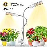 Bozily Lámpara de Plantas, Lámpara de Cultivo LED de 45W para Plantas de Interior, Cabezal Dual de Espectro Completo, 88 LEDs, Auto On/Off, para Siembra en Crecimiento, Germinación y Floración