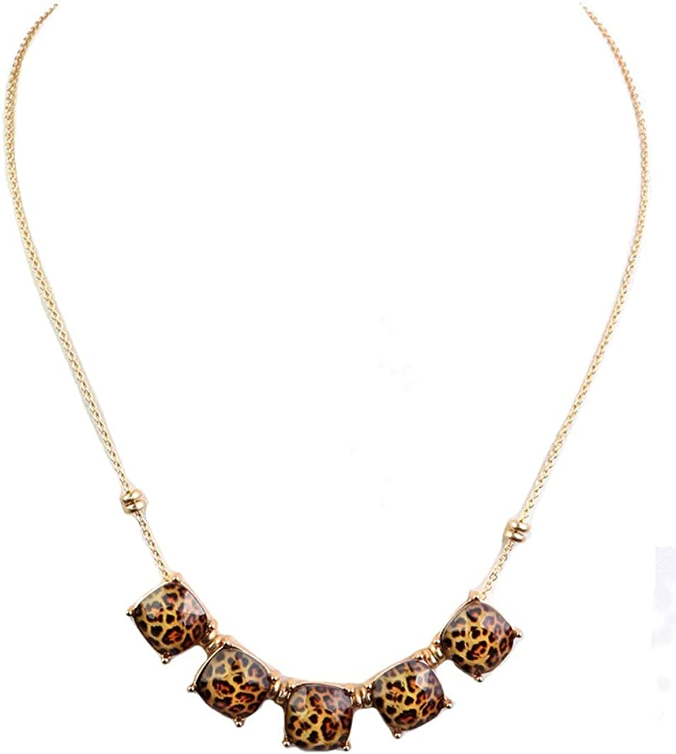 Fashion Jewelry ~ Brown Animal Print Beads Pendant Goldtone Necklace for Women Teens Girlfriends Birthday Gifts
