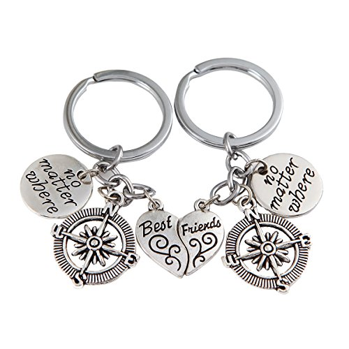 Best Friends No Matter Where Compass Necklace Set And Keychain Heart Best Friend Jewelry (Cloud Keychain)