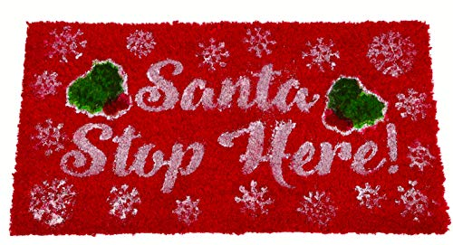 "Toyland® Christmas Red Santa Stop Here Kokos Fußmatte 66cm x 35cm (26""x 14"")"