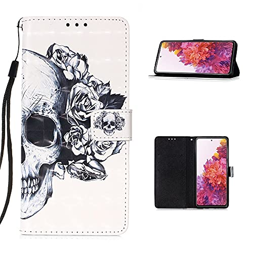 CoverKingz Handyhülle für Samsung Galaxy S20 FE - Handytasche mit Kartenfach Galaxy S20 FE Cover - Handy Hülle klappbar Motiv Totenkopf