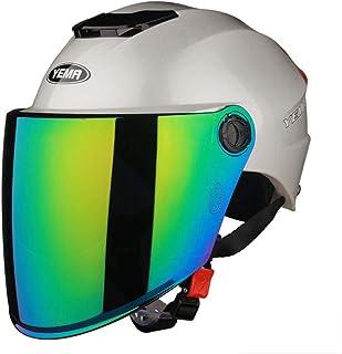 SMC Casco para Hombres y Mujeres Medio Cubierto de Seguridad Sombrero para el Sol Casco de Verano Casco de Motocicleta Coche Medio Casco de Verano (Color : Silver)