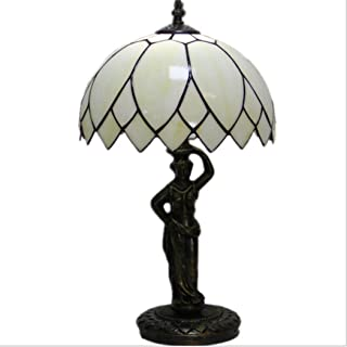 Simple Lotus Leaf Table Lamp Tiffany Style Stained Glass Bedroom Bedside Lamp Retro Study Room Cafe Night Lighting with Alloy Base,E27(2647CM)