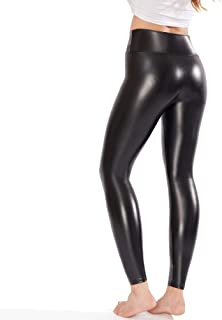 Ginasy Black Faux Leather Leggings Pants, Stretchy High Waisted Tights for Women