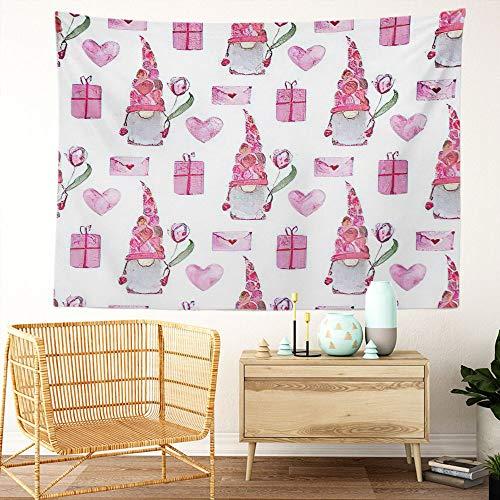 Y·JIANG Tapiz de gnomo de Pascua, gnomo de San Valentín para el hogar, tapiz grande decorativo, manta ancha para colgar en la pared para sala de estar, dormitorio, 80 x 60 pulgadas