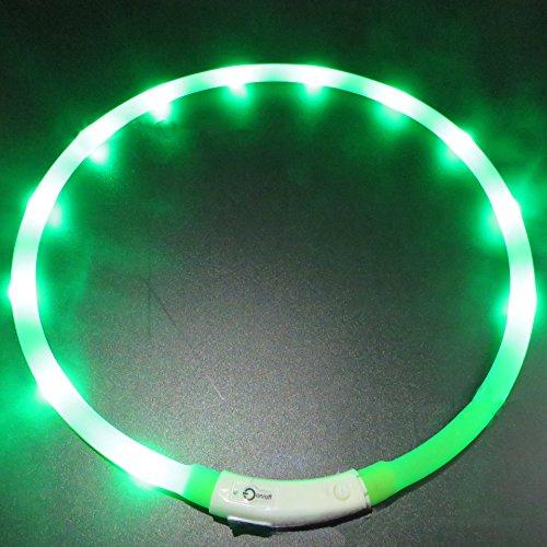 LaiXin LED halsband hond S, LED hondenhalsband siliconen oplichtende halsband waterdicht verstelbaar oplaadbaar met USB-kabel voor kleine honden, 35cm, wit, groen, oplaadbaar, 70cm