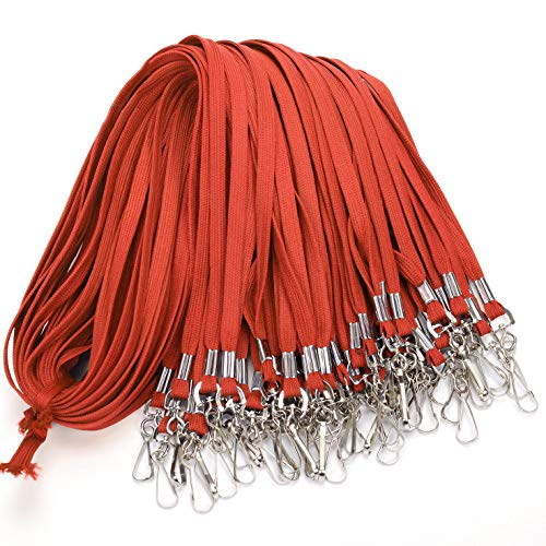 Lanyards Bulk Lanyards for Id Badges Lanyard Clip Swivel Hooks (50 Pack/Each 17.7-Inch) Lanyards for Kids Keys Durably Woven Nylon Badge Lanyard with Clips (Red)