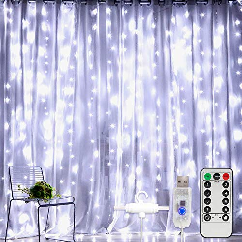 Window Curtain String Light 300 LEDs USB Powered Waterproof Fairy Lights 8 Lighting Modes Remote Control Lights for Christmas Bedroom Party Wedding Home Garden Wall Decorations, (White)