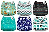 Mama Koala One Size Baby Washable Reusable Pocket Cloth Diapers, 6 Pack with 6 One Size Microfiber Inserts...