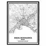 Palma de Mallorca España Mapa de pared arte lienzo impresión cartel obra de arte sin marco moderno mapa en blanco y negro recuerdo regalo decoración del hogar