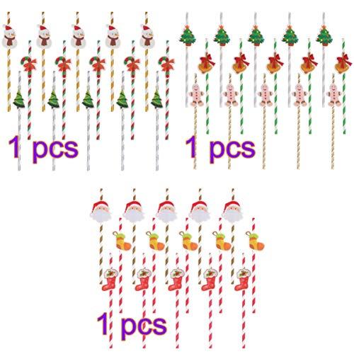 STOBOK - Cannucce di carta di Natale a righe per bere cannucce usa e getta per le forniture di festa di Natale (Confezione da 90)