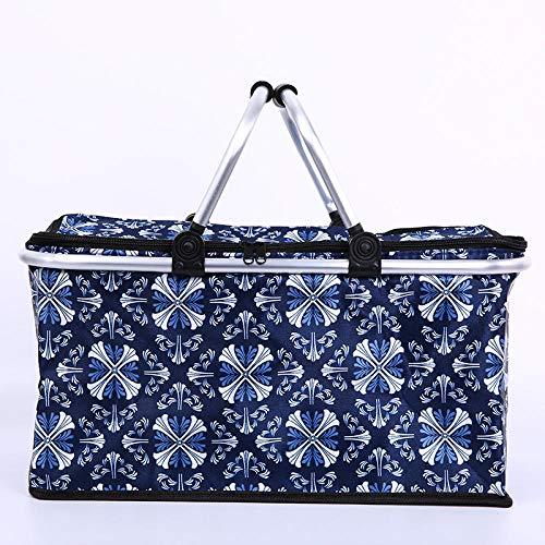 Comida Nevera Almuerzo,Cesta de compras aislada con tapa cesta de compras plegable cesta de picnic-P,isotérmica y plegable