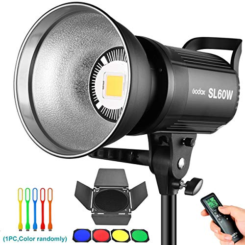 Godox SL-60W 60W CRI95+ White Version LED Video Light, 5600±300K Continuous Output Lighting with Bowens Mount& BD-04 Barn Door Kit for Video Recording, Children Photography, Wedding, Outdoor Shooting
