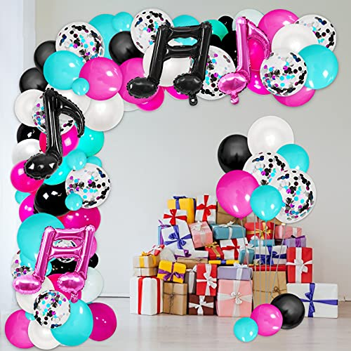 Musical Themed Balloon Arch Kit, White Rose Red Tiffany Blue Black Latex Balloons Confetti Balloon with Musical Note Foil Balloon, Karaoke Balloon Garland Birthday Supplies for Party Decoration