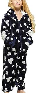 Matka i córka pasująca piżama zimowa ciepła flanelowa serce nadruk miękki kombinezon jednoczęściowa bielizna nocna