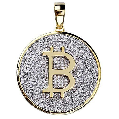LILIMO Hip Hop gefror heraus Goldfarbe überzogen Bitcoin-Anhänger-Halskette Mikro pflastern Zircon mit 60 cm-Seil-Ketten,B