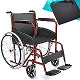 aiesi® sedia a rotelle pieghevole leggera per disabili ed anziani agila basic # cuscino antidecubito in gel # braccioli e poggiapiedi fissi # cintura di sicurezza # garanzia italia 24 mesi