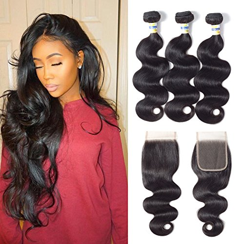 Bundles with Closure, Brazilian Body Wave 3 Bundles with Lace Closure (4 ×4) Free Part 100% Unprocessed Virgin Human Hair Extensions Natural Color (8 10 12 +8, body wave bundles with closure)