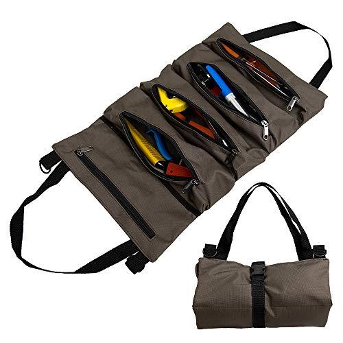 Sac à Outils avec 5 Poches Zippées, Sac à Outils Portable 600D Oxford, Outil Roll Auto Organizer Tool pour Electricien Plombier ou Mécanicien (Marron foncé)