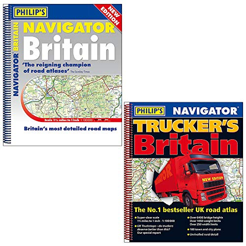 Price comparison product image Philips Road Atlas Britain 2019 Collection 2 Books Set (Navigator Britain,  Navigator Trucker's Britain)