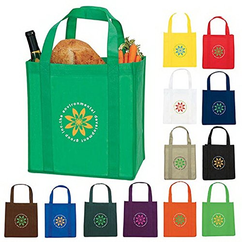 Personalized Reusable Grocery Tote Bags with Your Custom Message or Logo - 100 QTY