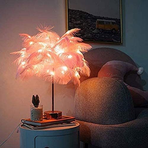 Feather Table Lamp Feather Table Lamp Tree Shape LED Wedding Decorative Girl Bedroom Flashing Light Feather Decorative Lighting for Princess Wedding Room Living Room