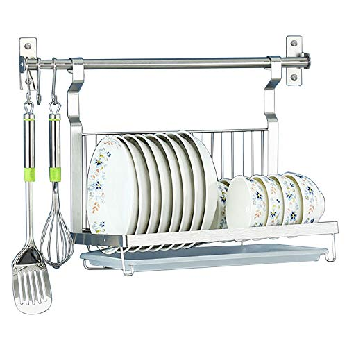 Wall-Mounted Dish Rack with Hanging Rod Foldable Dish Drying Rack with Drainboard Stainless Steel Dish Drainer with 3 Mobile Hooks Black
