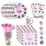 DreamJing - Vajilla de 96 piezas, kit de Flamingo Party Tropical, platos con servilleta de papel, vasos de cartón, tenedor, caja de palomitas para decoración de bodas, cumpleaños, tropical