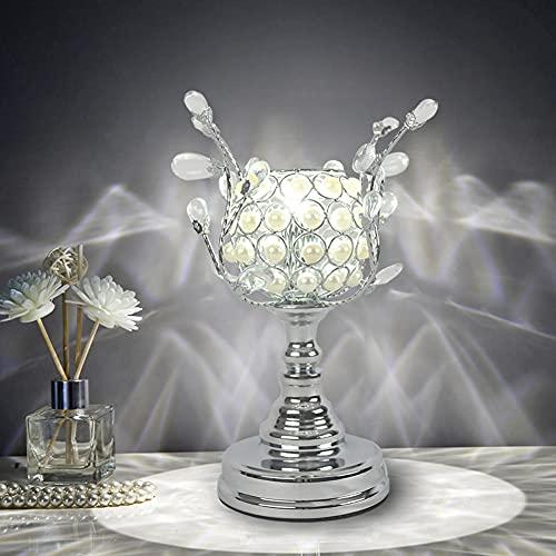 Lámpara de mesa de cristal, corona plateada con base de Metal, lámpara de mesita de noche, luz de noche moderna para dormitorio, sala de estar, oficina