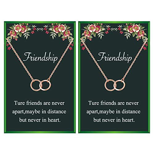 Friendship Necklace for 2 Best Friend Necklace Two Interlocking Infinity Double Circles Pendant Necklace for Friends (2 rose gold circle necklace)
