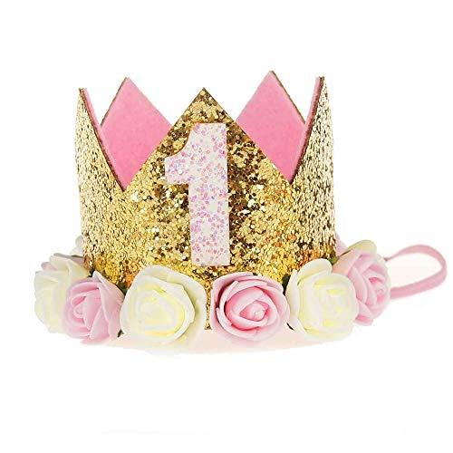 Vegena 1 Jahr Geburtstag Baby Krone, Baby Geburtstagskrone mit Digital 0-9, Baby Haarband Geburtstagshut Kindergeburtstag Krone Mädchen mit Pailletten und Rosendekor, für Geburtstag, Party, Hochzeit