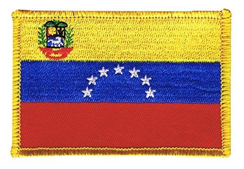 Flaggenfritze Flaggen Aufnäher Venezuela 7 Sterne mit Wappen 1930-2006 Fahne Patch + gratis Aufkleber