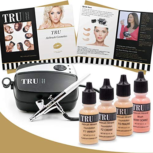 TRU Airbrush Makeup Kit Light/Medium Mineral Foundation 6 piece makeup set