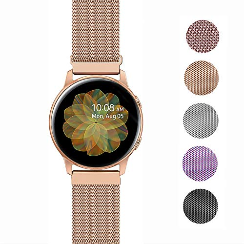 JOHIPI Compatible with Samsung Galaxy Watch 42mm/Active 2 40mm 44mm/Watch 3 41mm/Active 40mm/Gear S2 Classic/Gear Sport Bands, 20mm Stainless Steel Mesh Loop Womens Man Bracelet Strap (Rose Gold)