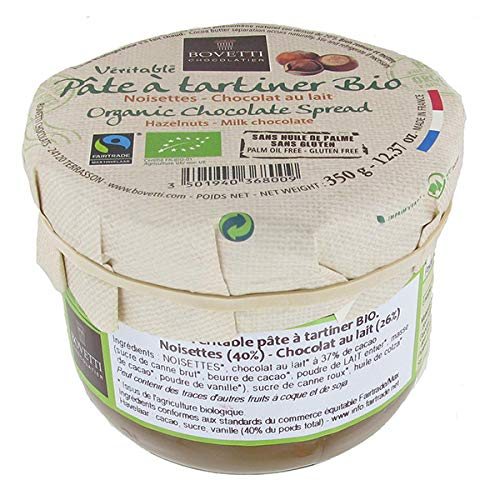 Bovetti - Véritable Pâte à Tartiner Bio et Équitable - Noisettes et Chocolat au lait -350g