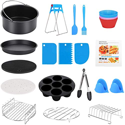 8 Inch XL Air Fryer Accessories, 19 Pcs Deep Fryer Accessories with Recipe Cookbook for Growise Phillips Cozyna Fits All 4.2QT - 5.8QT Air Fryer