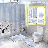 Xizhi 4-teiliges Winter-Duschteppich-Set, mit rutschfestem Teppich & Badematte, WC-Deckelbezug & Duschvorhang mit 12 Haken, langlebige, wasserdichte Duschvorhang-Set für Badezimmer