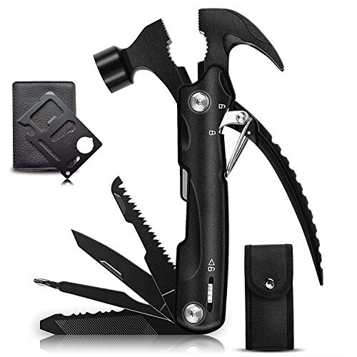 Gifts for Men Dad Husband, 12 in 1 Survival Hammer Multitool, Camping Gear Survival Tool, Ideal Gifts for Boyfriend, Valentines Day Gifts for Him, All in One Multitool Hammer/Credit Card Tool