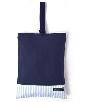 シューズケース(リバーシブル) 上履き入れ 靴袋 帆布・紺 × ベーシックストライプ・水色 N3171500