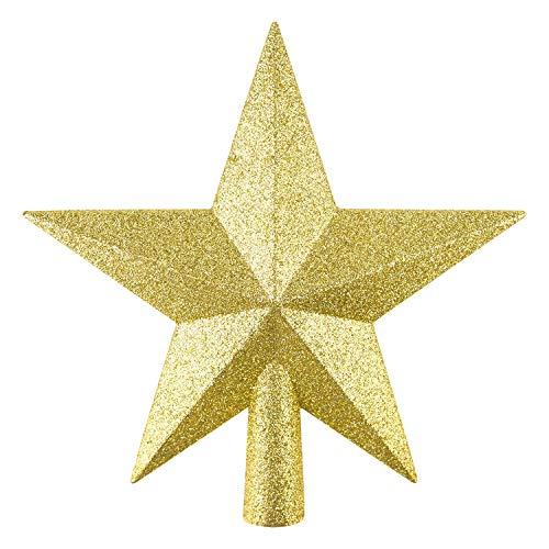 FEPITO Glitter Star Mini Kerstboom Topper Shatter-Proof Kleine Kerstboom Decoratie Treetop voor Vakantie Ornament of Home Décor