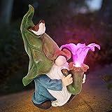 Dantazz Gartenzwerg Gartendeko LED Solar Licht Zwergstatue Harz Zwerg Deko Gartenfigur Ornamente Kreative Zwerg Solar Lamp, Garten Rasen Esstisch Balkon Dekoration (Mehrfarbig)