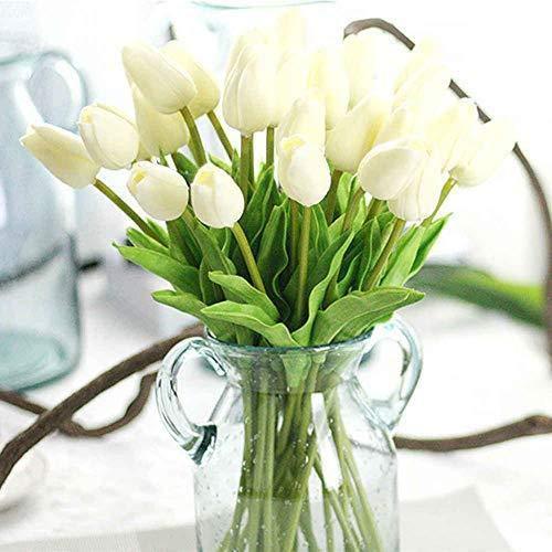 Depory Unechte Blumen Künstliche Deko Blumen Gefälschte Blumen Blumenstrauß Seide Tulpe Wirkliches Berührungsgefühlen Braut Hochzeitsblumenstrauß für Haus Garten Party Blumenschmuck 10Stück Weiß
