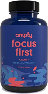 Amply Blends | Focus First | Herbal Supplement | Clarity Support Capsules | 120-Count