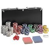 TecTake 402558 Mallette de Poker avec Laser Jetons, 300 Pièces, Coffret de Poker en Aluminium, INCL. 5 Dés + 2 Jeux de Cartes + 1 Bouton Dealer, Noir