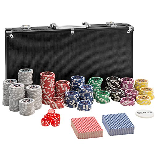 TecTake 402558 Maletín de Póker Aluminio con Fichas Láser Poker Chips, 300 Pieza, Incl. 5 Dados + 2 Barajas de Cartas + 1 Ficha de Dealer, Negro