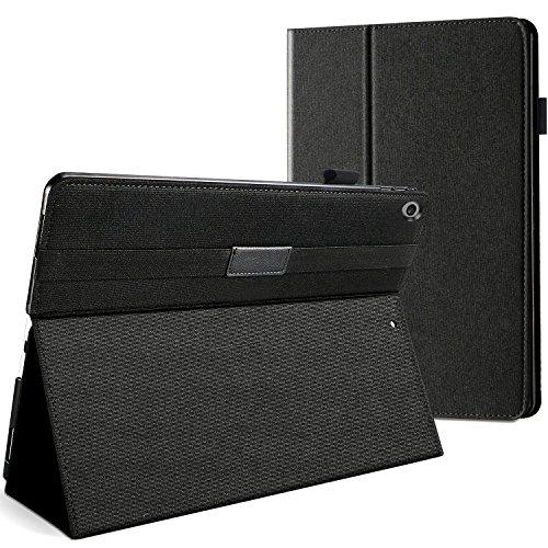 ProCase Funda Nailon para iPad 9,7 2018 6.ª / 2017 5.ª Generación, Carcasa Nylon con Porta-lápiz Elástico Tapa Inteligente Atril Estable -Negro