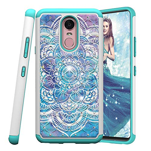 COTDINFOR LG Stylo 4 Hülle Bling Diamond Handyhülle Heavy Duty Protective Dual Layer Silicone Plastic Armor Shock Absorbing Etui für LG Q Stylus. 2 in 1- Blue Mandala YB