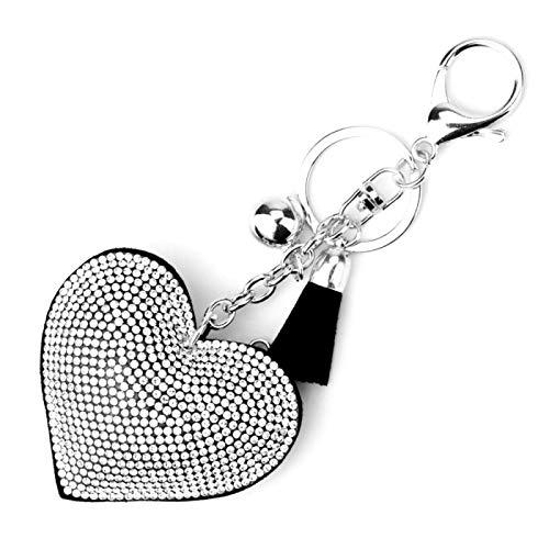 aolongwl Llavero chapado en plata con forma de corazón llavero de cuero con borla de cristal de metal llavero llavero bolsa colgante de coche regalo