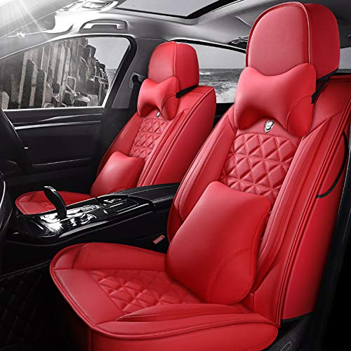 Car Seat Covers Full Set with Waterproof Professional Grade Deluxe Leather,Airbag Compatible Universal Automotive Vehicle Cushion Cover Fit for Most of 5 Seats Car Fashionable Red Seat Cover Set (RED)