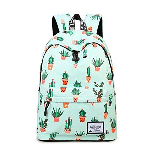 YANAIER Waterproof School Backpack for Girls Teens Cute Print Bookbag Laptop Backpack Women Travel Casual Daypack Green Cactus